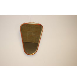 Small triangular wall mirror with red border