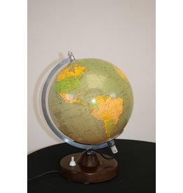 Glazen Wereldbol met verlichting 20 cm doorsnee 1982
