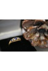 18 Kt Geelgouden Ring met Saffier en Diamant