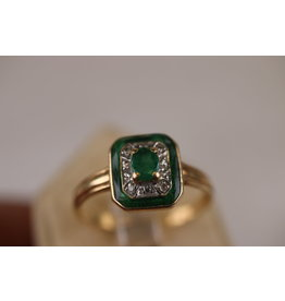 14 kt Geelgouden Art Deco ring met Smaragd en Diamant