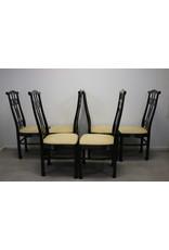 6 Zwarte Gelakte Eetkamer stoelen Japanse style 1970