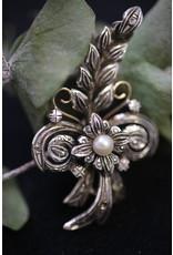 18 KT Geelgouden Zilveren Brochs met Parel en Diamantjes