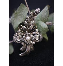18 KT Geelgouden Zilveren Broches met Parel en Diamantjes