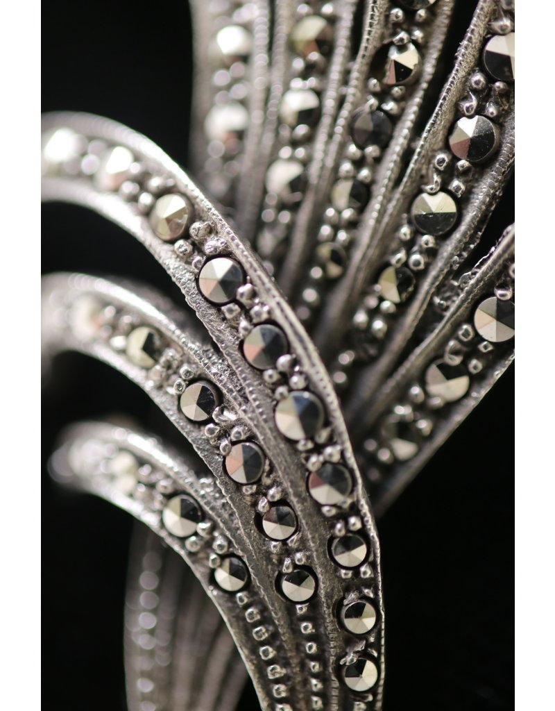 Belgische Zilveren Broches met markasieten