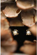 Geelgouden Parel met Saffier oorbellen