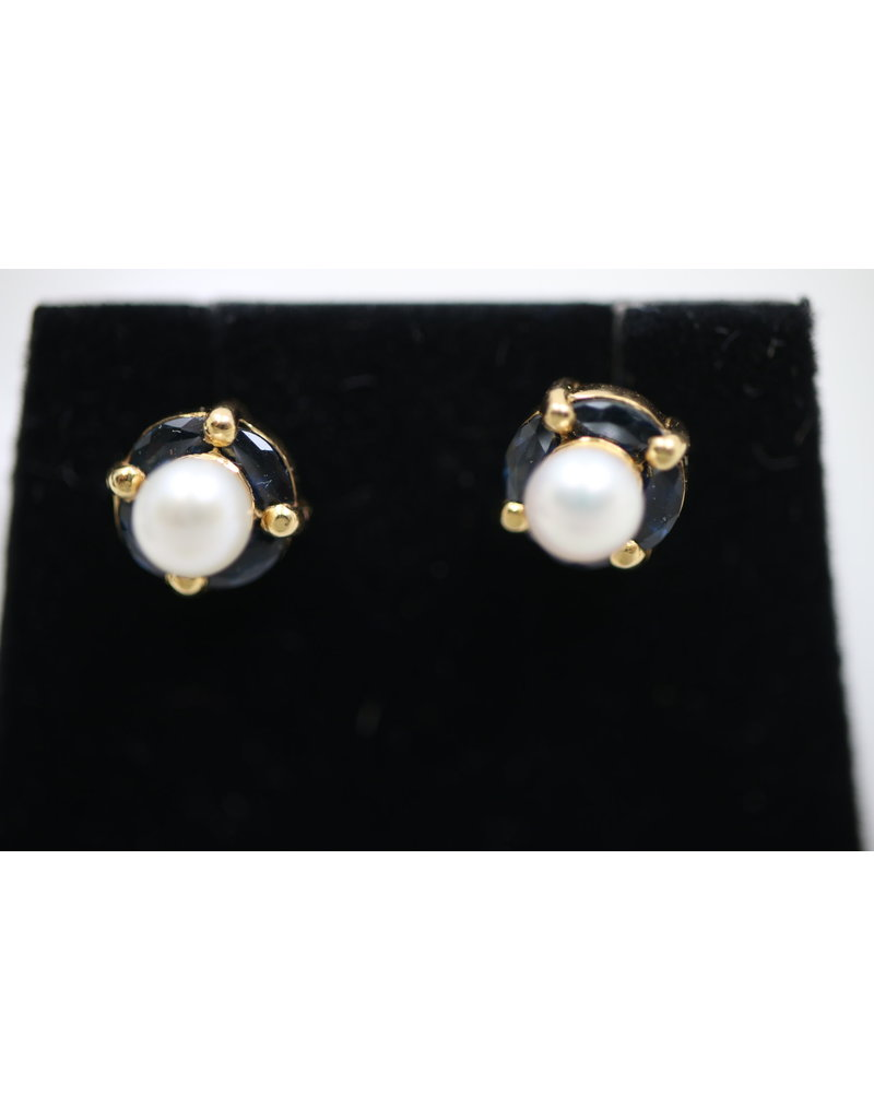 Yellow Gold Pearl with Sapphire Earrings