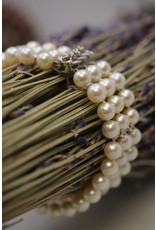 Parel Armband met 14 kt wit gouden sluiting met Diamanten