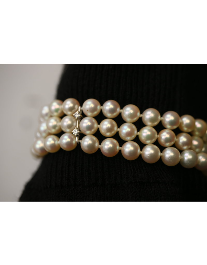 Pearl Bracelet with 14 kt white gold clasp with diamonds