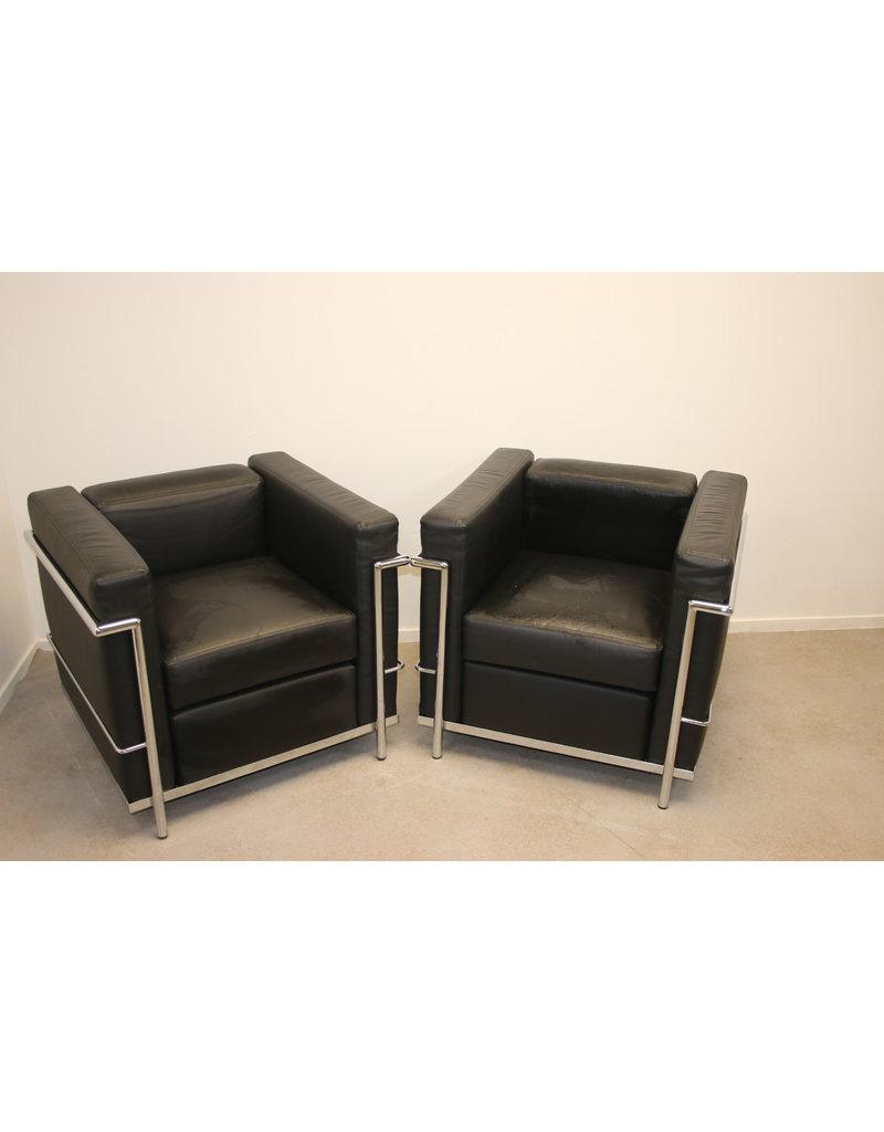 Zwarte leren model Cassina LC2 fauteuils
