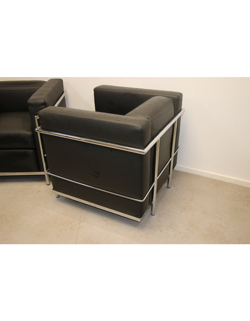 Black leather model Cassina LC2 armchairs