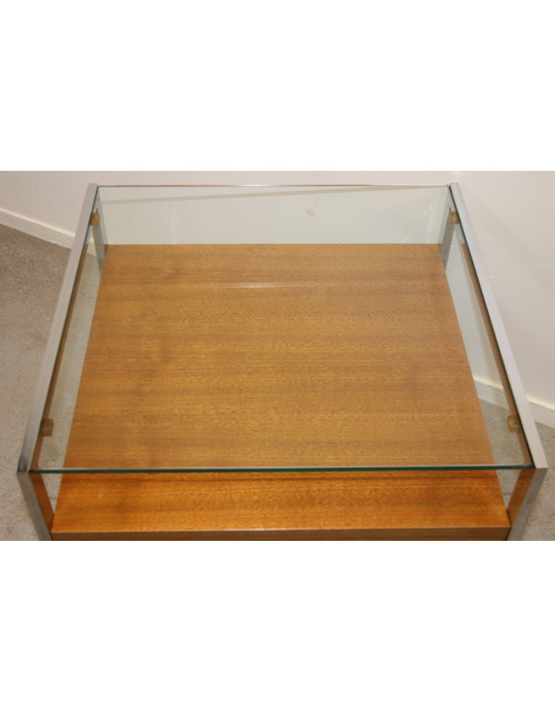 Coffee table with glass plate and chrome frame Side table