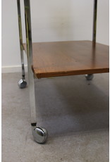 TV furniture or sidetable with chrome undercarriage on wheels 60s