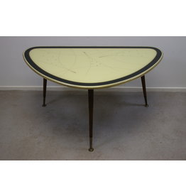 Vintage Triangle Side table coffee table with yellow glass top