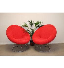 Ronden Rode Draaibaren Design Fauteuil