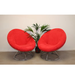 Round Red Turnable Design Fauteuil