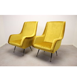 Set van 2 Lounge Chair by Aldo Morbelli for ISA Bergamo, 1950s Mais Geel