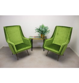 Set van 2 Lounge Chair by Aldo Morbelli for ISA Bergamo, 1950s green chairs
