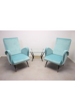 italiaans design fauteuilstoelen hemelblauw uit de 1950's
