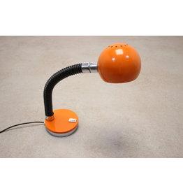 Vintage Oranje Bureau lampje met zwarte boog nek