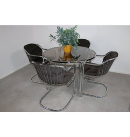 Gastone rinaldi chrome Chairs and Table 60 years