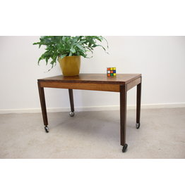 Rosewood Wooden end table on Wheels