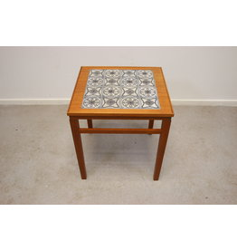 Scandinavian small side table with tiles inlaid