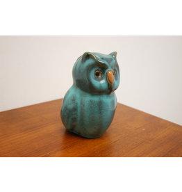 ceramic blue glazed wise owl