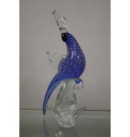 Murano Glazen Blauwen zilveren papegaai