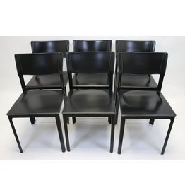 Black Italian leather dining room seats 6 pieces mario bellini