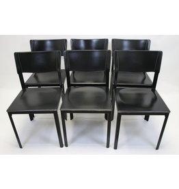 Zwarte Italiaanse Leren eetkamer stoelen 6 stuks mario bellini