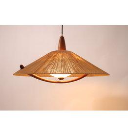 Scandinavian Teak hanging lamp with pulley Temde Leuchten