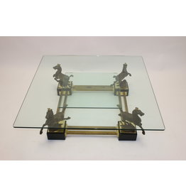 Maison Charles Bronze Coffee table with horses and 2 glass plates