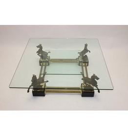 Maison Charles Bronzen Salontafel met Paarden en 2 glasplaten