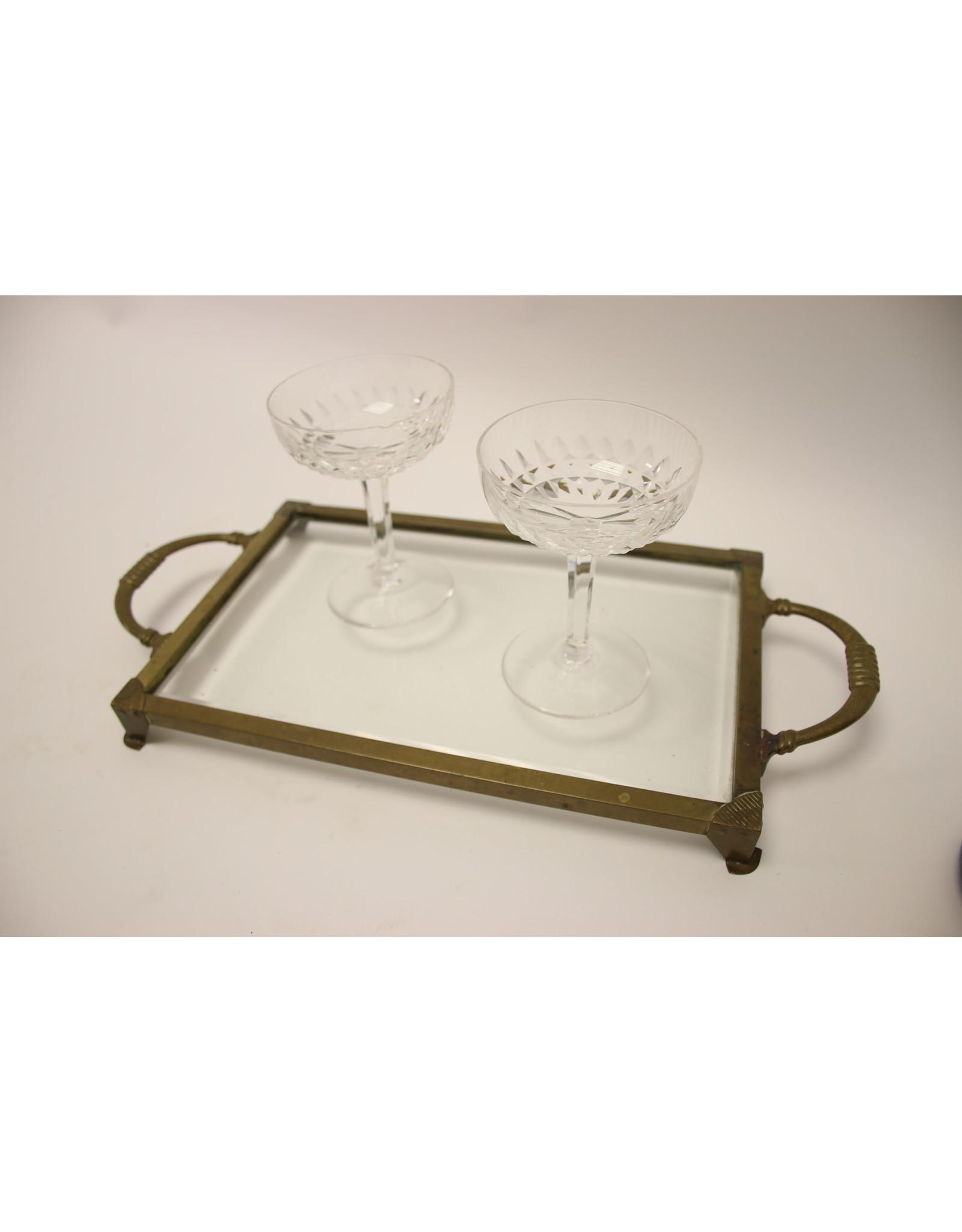 Art Deco Dienblaadje Glas met koper