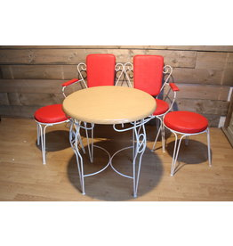 Red Garden set or balcony set bench with 2 chairs and table