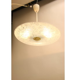 Large round glass ceiling lamp from the 1950s