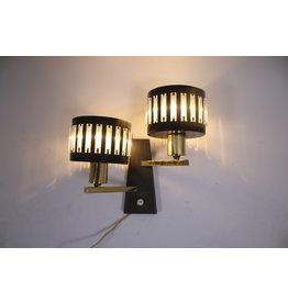 Vintage Zwarte Wandlampje met 2 lichtpunten raak amsterdam