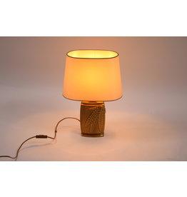 Bronzen Tafel lamp met varen op de voet