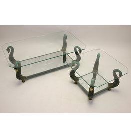Iitaliaanse design  Bronzen Zwanen Salon en bijzet tafel