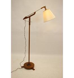 Teakhouten vloerlamp met knikdarm