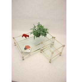 Pierre VanDal Coffee table & side table ICE glas en gouden hoeken