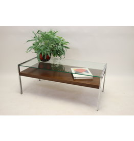 Italian design Coffee table with Rosewood and Chrome legs