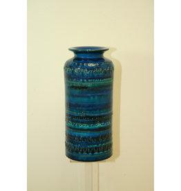 Blue Bitossi elongated ceramic vase