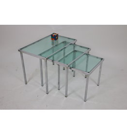 Chrome nest tables with blue-clear glass