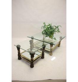Vintage Bronzen Salon en side table met Koren motief