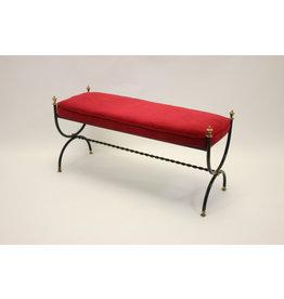 Italiaanse Rood velvet Slaapkamer bankje staal/messing  frame 1950's
