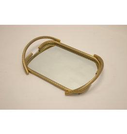 Franse Gouden kabel Dienblad met spiegel 1950's