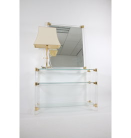 Plexiglass gold side table with matching mirror