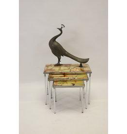 Vintage design nesting tables mimiset bijzettafels Groene Marmer