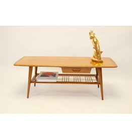 Coffee table Louis van Teeffelen bamboo mat & drawer 1950's